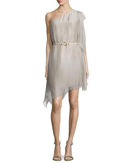 NWT Halston Heritage high low asymmetric hem abstract belted bone dress Größe S