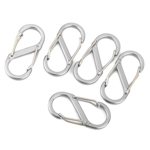 5PCs Outdoor S Shape Type Buckle Gated Carabiner Key Ring Clip Hook Sports Gift
