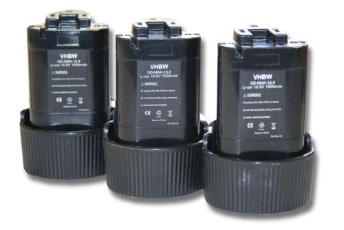 original vhbw® AKKU 10.8V 1500mAh für MAKITA HU01 3St HU01Z