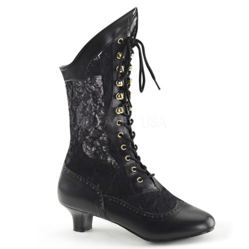 PLEASER FUNTASMA DAME-115 PU LACE VICTORIAN FANCY DRESS  COSTUME ANKLE BOOTS