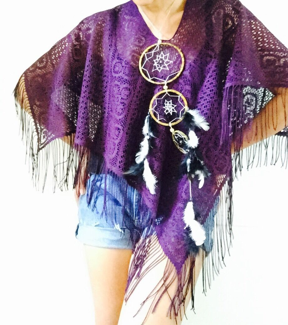 Lace Fringed Shawl   Summer Outfit   Onesize