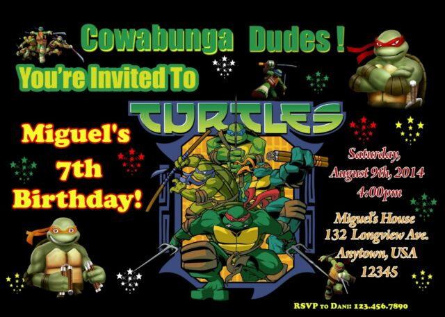 Teenage Mutant Ninja Turtle Birthday Invitation Tmnt Invitations For