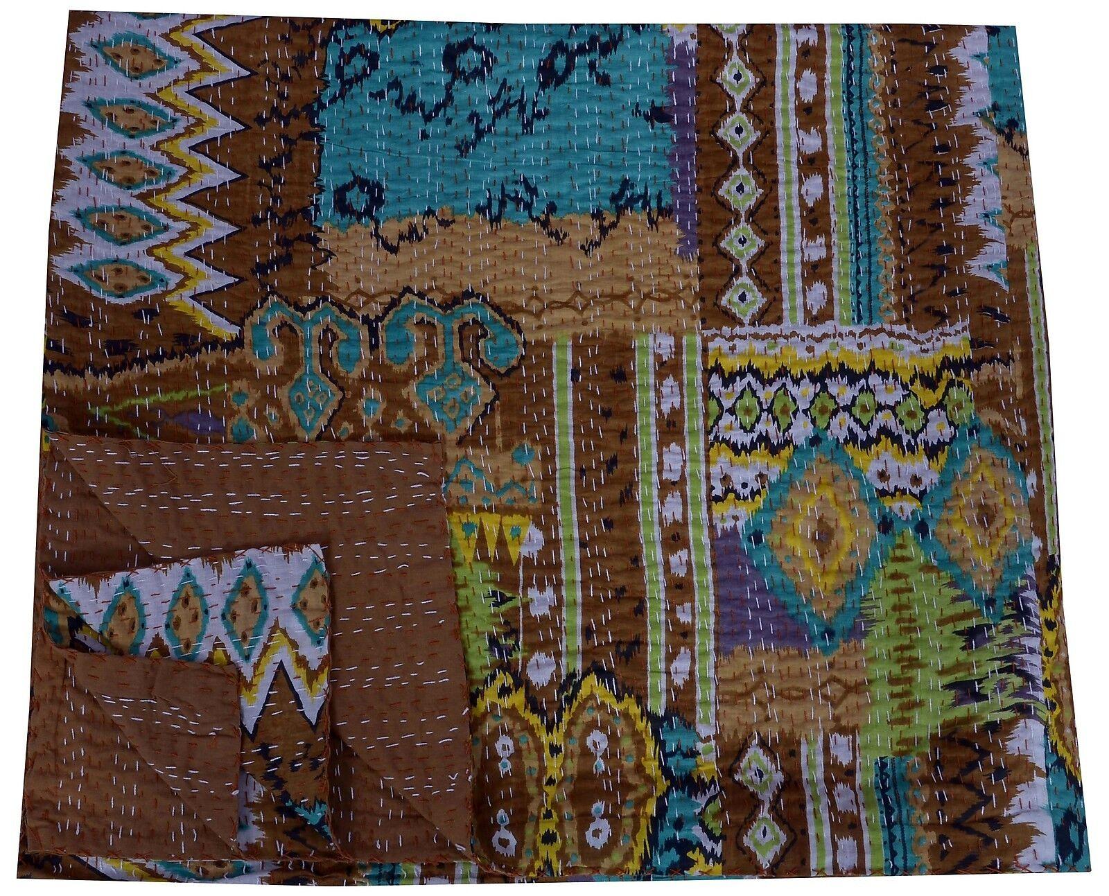 braun Ikat Cotton Reversible Queen Größe Kantha Quilt Bedspread Blanket Handmade