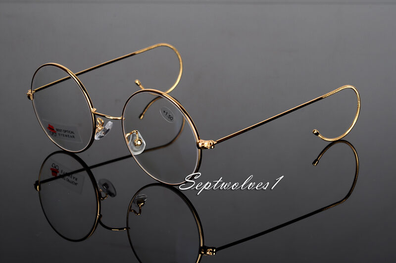 99bae0ab79d 48mm Antique Vintage Round Gold Wire Rim Reading Glasses Eyeglasses  +1.00~4.00