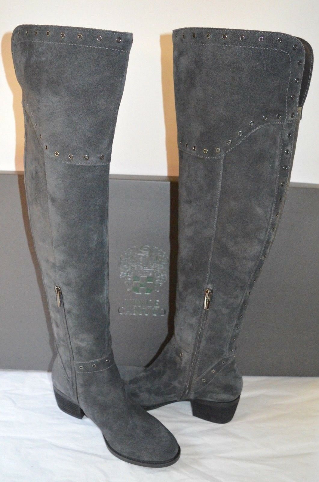 New  200 Vince Camuto Camuto Camuto Bestan Granite Peak Verona Over the Knee grau Suede Stiefel ec0876