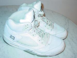 f85b3304d6c4c 2014 Nike Air Jordan Retro 5 White Metallic Silver Black Shoes! Size ...