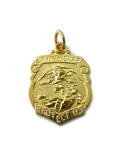 Sterling-Silver-0-925-Gold-Toned-Saint-St-Michael-Medal-Necklace-Pendant-Charm