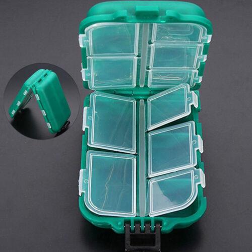 Fishing Tackle Box 10Grid Lure Bait Tool Storage Organizer Portable Utility Case