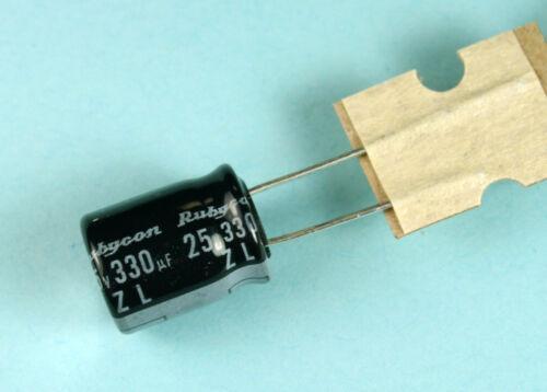 8pcs Rubycon ZL 330uF 25v 105c  Radial Electrolytic Capacitor Low ESR