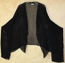 Eskandar BLACK Open Front Art-to-Wear Funky Flowing Mesh Knit Cardigan Sweater 1