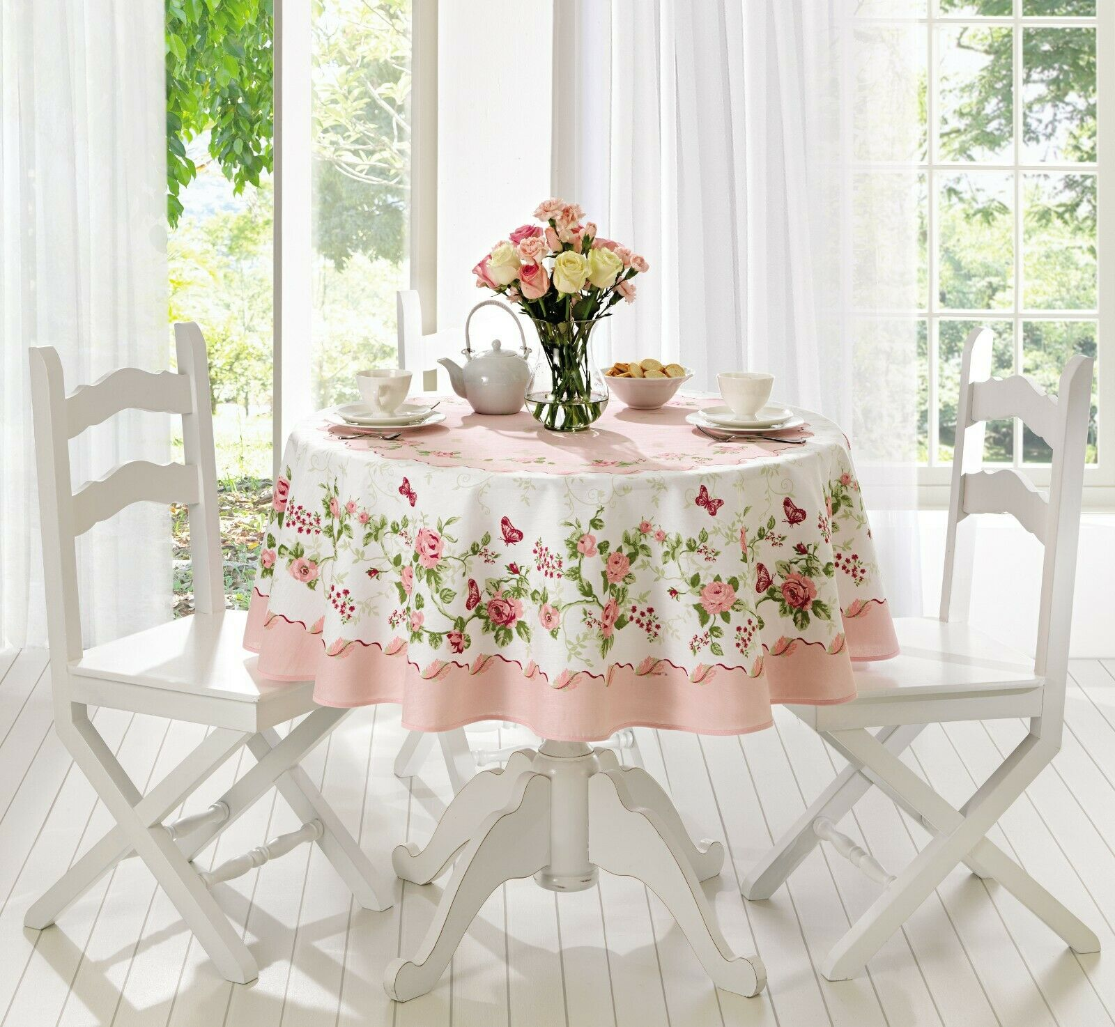 """Fall decor farm to table Rect Tablecloth Pink or blue Rose flowers 60/"""" Round"""