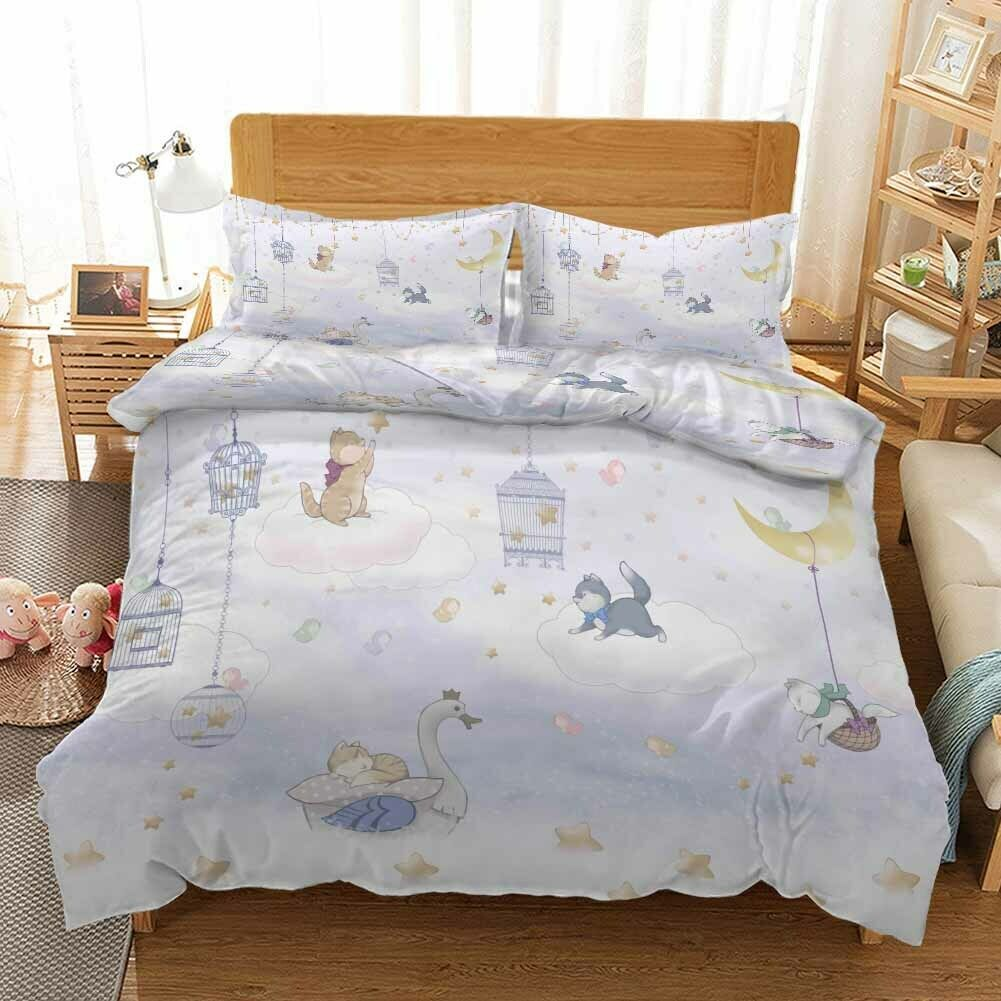 Cage Cats Swan 3D Druckening Duvet Quilt Will Startseites Pillow Case Bettding Sets