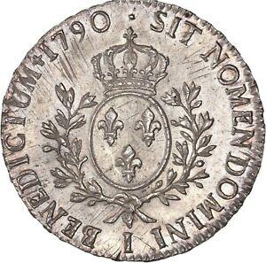 Louis-XVI-Ecu-aux-branches-d-039-olivier-1790-Limoges-Splendide-exemplaire