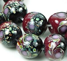 Lampwork Glass Red Black Moonlight Round Beads 14mm