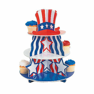Patriotic CUPCAKE HOLDER STAND Red White Blue 4th of July Party Tableware FUN