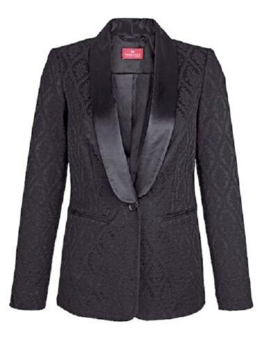 Jaquardblazer Blazer Jacke Damen Jaquard Baumwolle schwarz Gr 44 46 48