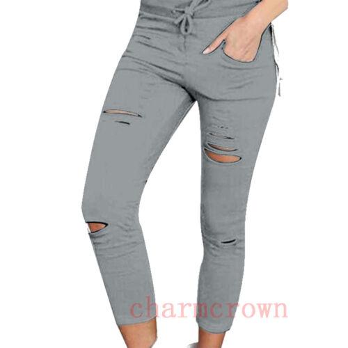 Lady/'s Stylish Denim Skinny High Waist Ripped Stretch Jeans Slim Pencil Trousers