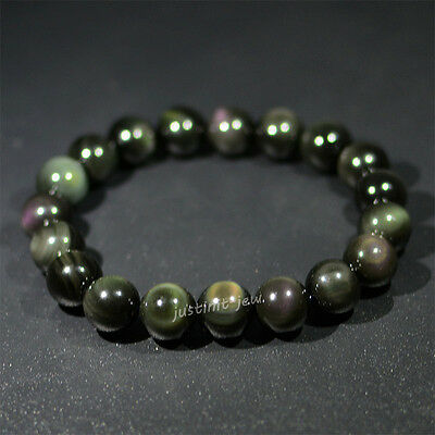 Natural AAA rainbow eye obsidian round beads stretchable bracelet 8mm to 20mm