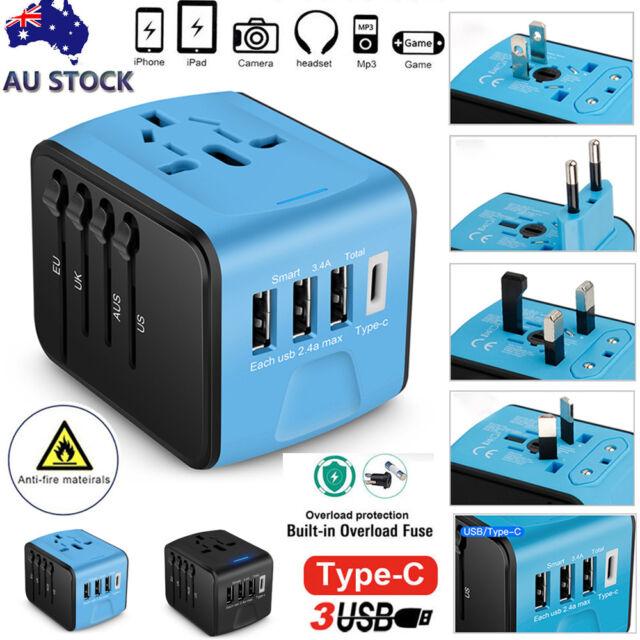 Type-C 3 USB Charger Universal World Travel Adapter US/UK/EU/AU Plug Converter