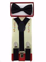 Simple & Elegant Suspender And Bow Tie Set For Boys Girls Children Black