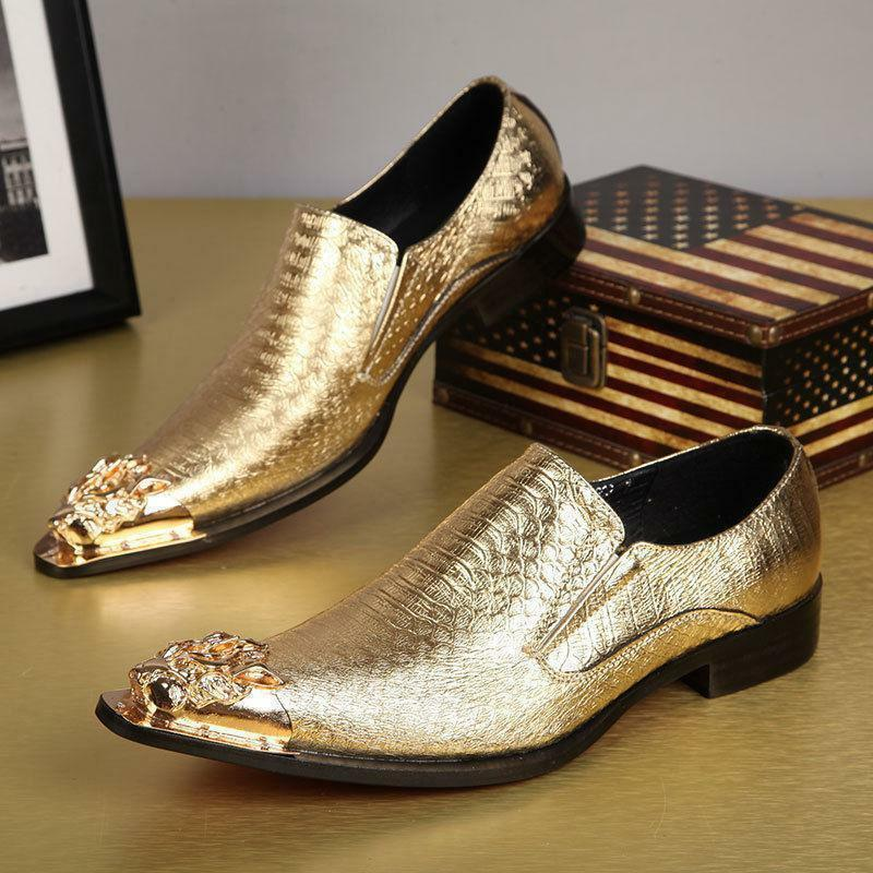 HOT Sale Men Pointed Toe Leather Metal Wedding Dress Formal Slip On Party shoes