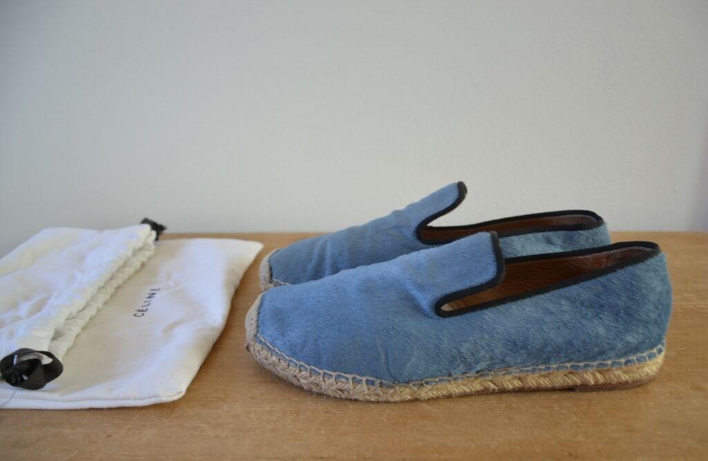 Celine Azul Pony Cabello Alpargatas Mocasines, tamaño 38, nosotros 8