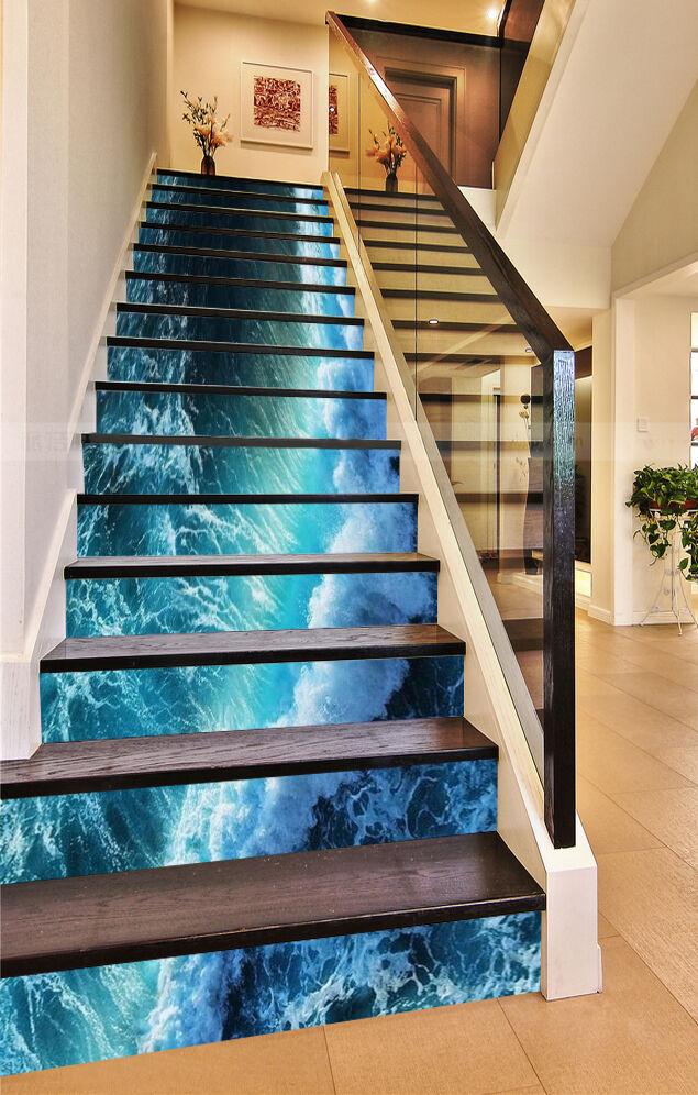 3D Bule Waves 29 Stair Risers Decoration Photo Mural Vinyl Decal Wallpaper CA