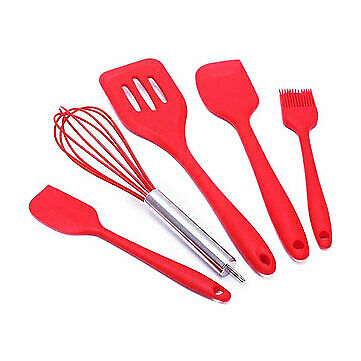 5Pcs Non-stick Silicone Cooking Baking Utensils Set Spatula Turner Wisk Brush