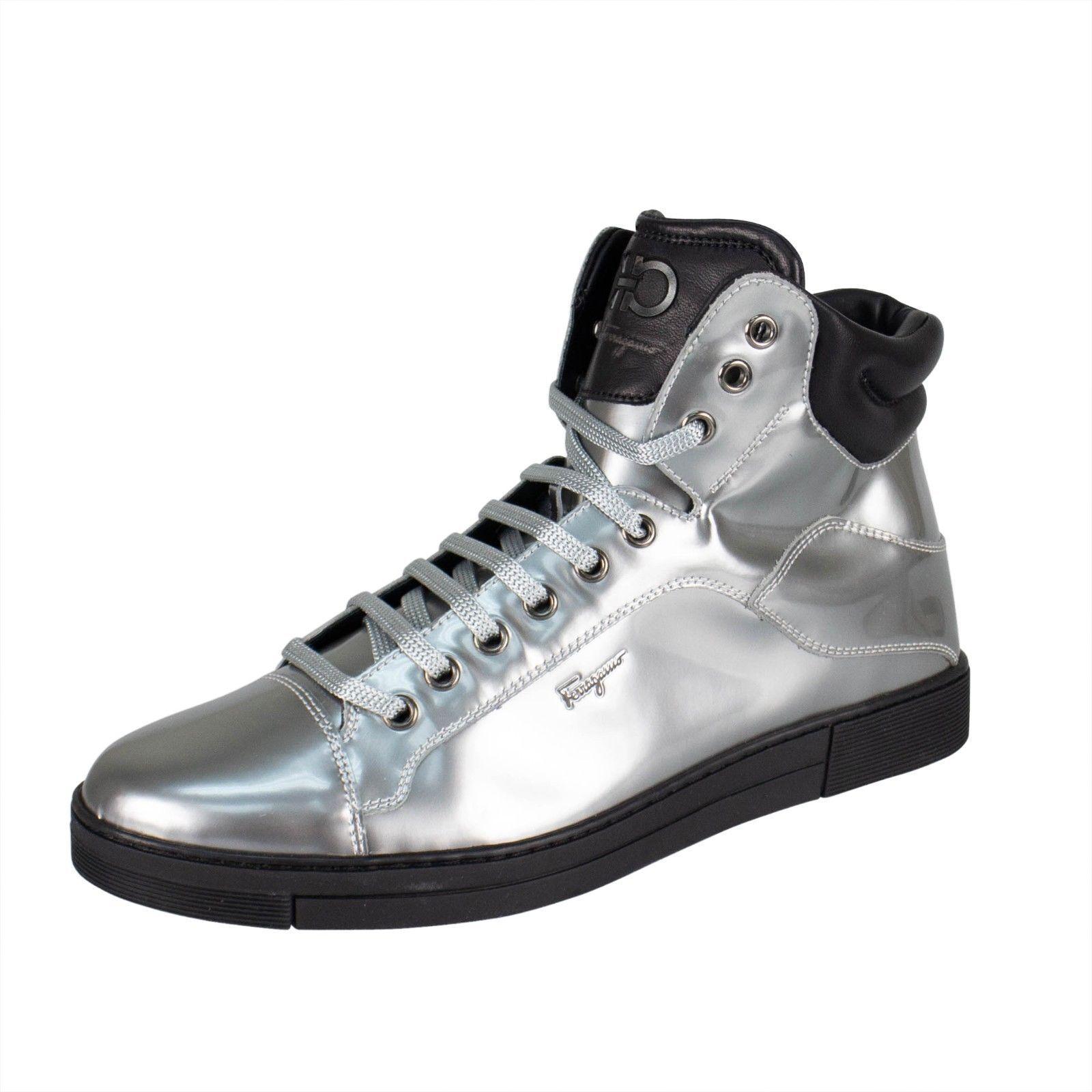 NIB SALVATORE FERRAGAMO 'Stephen 2' plata Metallic zapatillas zapatos 10 43 EE  675