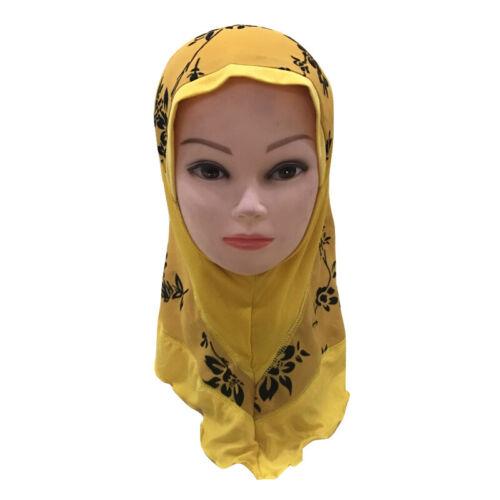 Girls Kids Muslim Hijab Hats Islamic Arab Scarf Caps Shawls Amira Headwear 3-8Y