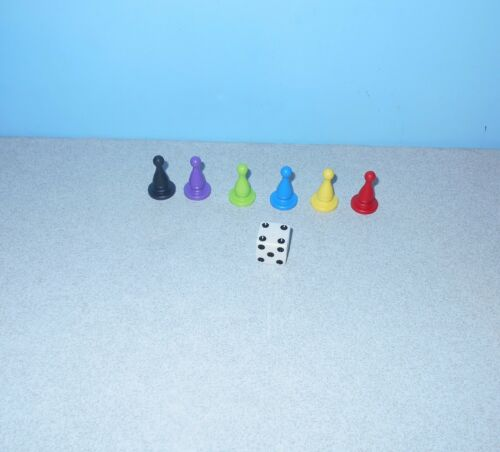 Hasbro Balderdash or Patch Games Game Replacement Parts 6 Color Tokens /& Die