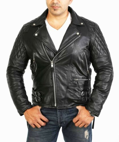 Fitted Padded Mens Up Zip Coat Biker Black Quilted For Real Nappa Leather Jacket aPqPntw8O0