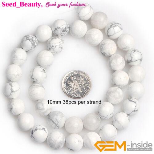 """Piedra Preciosa Natural Blanco HOWLITE piedra suelta granos para joyería haciendo Strand 15/"""""""