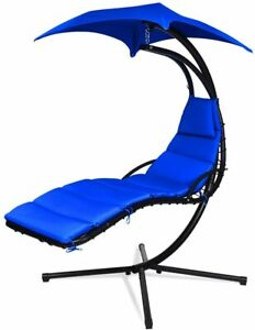 Hanging Chaise Lounger Chair Arc Stand Porch Swing Hammock Chair Canopy Navy Ebay