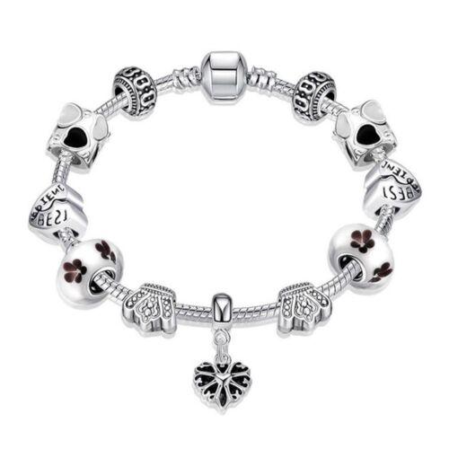 925 plata señora charm cadena con colgante Charms corona corazones Ø 14mm