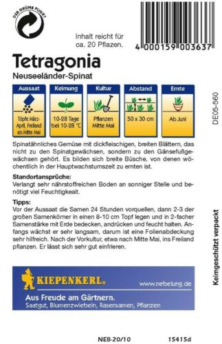 """rankend  Samen Sämereien Neuseeländer-Spinat /"""" Tetragonia /"""" gefriergeeignet"""