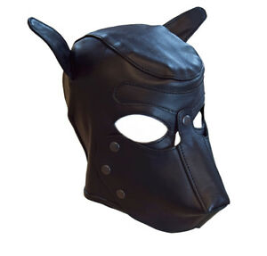Harnais De Tête Cuir Véritable Hundemaske Chien Masque Noir Souple Neuf