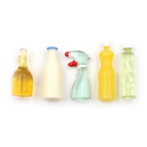 Dollhouse Miniature 1:12 Toy 5 Pieces Plastic Kitchen Bottles Height 3cm LE