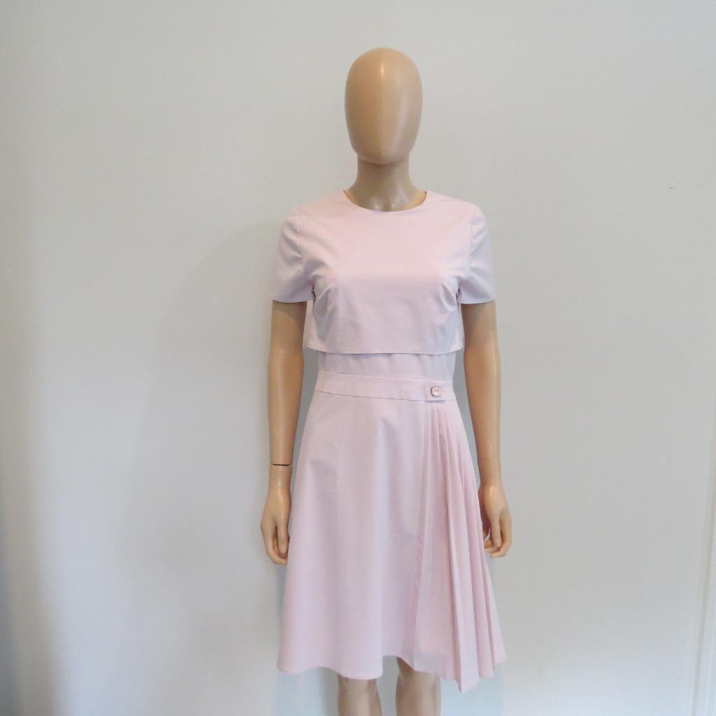 Carolina Herrera Pink Cotton Side Pleat Cap Sleeve Dress Size 8