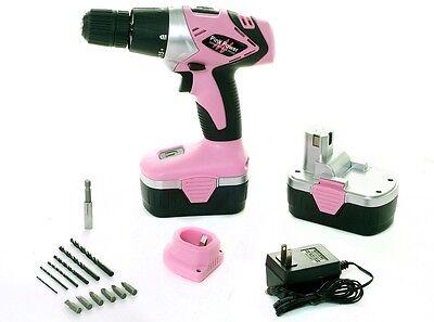 New Pink Power 18V Pink Power Cordless Drill Kit for Women PP182 18 Volt