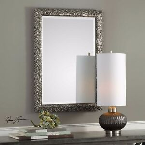 NEW-MODERN-35-034-EMBOSSED-LEAF-BEVELED-WALL-VANITY-MIRROR-AGED-BURNISHED-SILVER