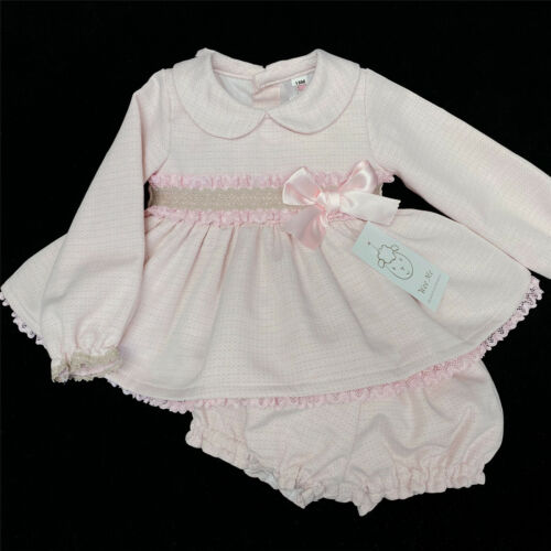 Gorgeous Wee Me Baby Girl Spanish Pink Beige Long Sleeve Dress Bloomer Set SMALL