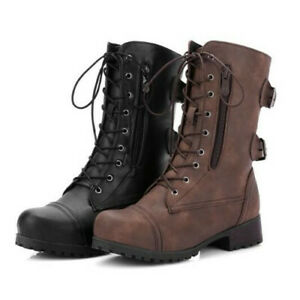 Womens Military Boots Army Combat Lace Up Ankle Ladies Flat Biker Zip Shoes New