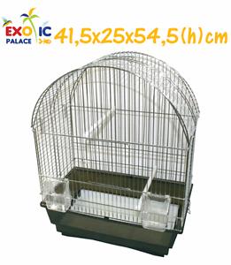 Cage Complète 41,5x25x54,5 En Métal Chrome Pour Perroquets Canaries