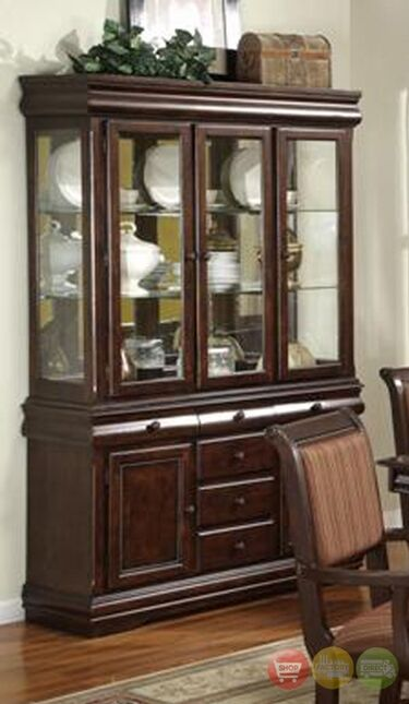 merlot wooden china cabinet buffet and hutch formal dining storage rh ebay com