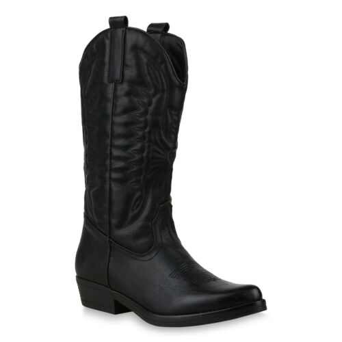 895818 Damen Cowboystiefel Stickereien Western Stiefel Cowboy Boots New Look