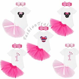 3910e336bd12 Baby Girl 1st Birthday Outfits Romper Tutu Skirt Dress Headband Cake ...