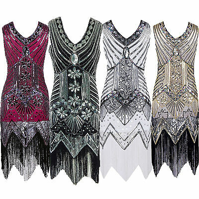 1920s Long Tassel Lady Dress Deco Gatsby Vintage Sequin Cocktail Party Ball Gown