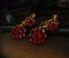 Vintage Butler & Wilson Ruby Red Crystal Drop Clip-On Screw Earrings. Signed