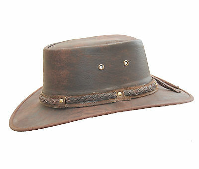Real Distressed Leather Foldaway Crushable Australian-Style  Bush Hat Brown
